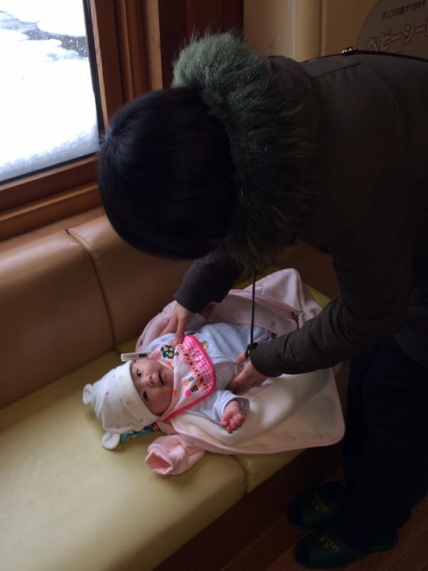 寒波の中の生後3ヶ月予防接種